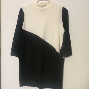 Black and white color block sweater dress